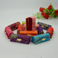 LiiJi Unique Wholesale 12pcs Silk Embroider Brocade Lipstick Case Mirror Inside Jewelry Box