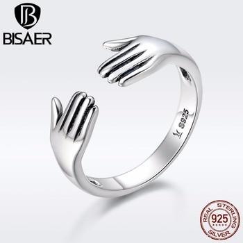 41853574a3d7 Venta caliente genuino 925 plata esterlina mamá abrazo de la madre de la  mano amor para siempre el anillo de dedo de las mujeres joyería de plata 925
