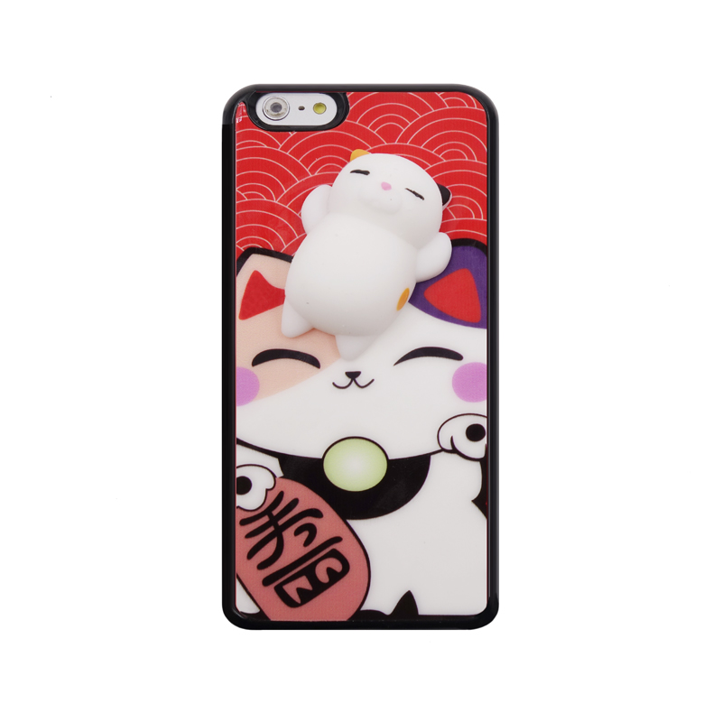 2017 Fashion cartoon lucky cat cloud koi fish soft 3d joy doll elastic relax venting toys sock pinch mirror tpu case For Iphone