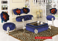 New Classical Living Room Sofa Set With Coffee Table Fabric Sofa Chair With Rose Decor On