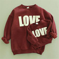 New Fashion autumn and winter baby girl sweater With velvet print LOVE long sleeve cotton sweater  clothing mother and children