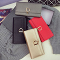 Women Brand Design High Quality Leather Wallets Female Hasp Fashion D Letter Long Trifold Wallet Leather For Women Carteras