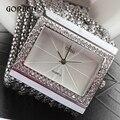 De Prata do vintage De Quartzo-relógio Moda de Luxo Mulheres de Aço Inoxidável Relógios Senhoras Strass Relógios Pulseira Relogio feminino