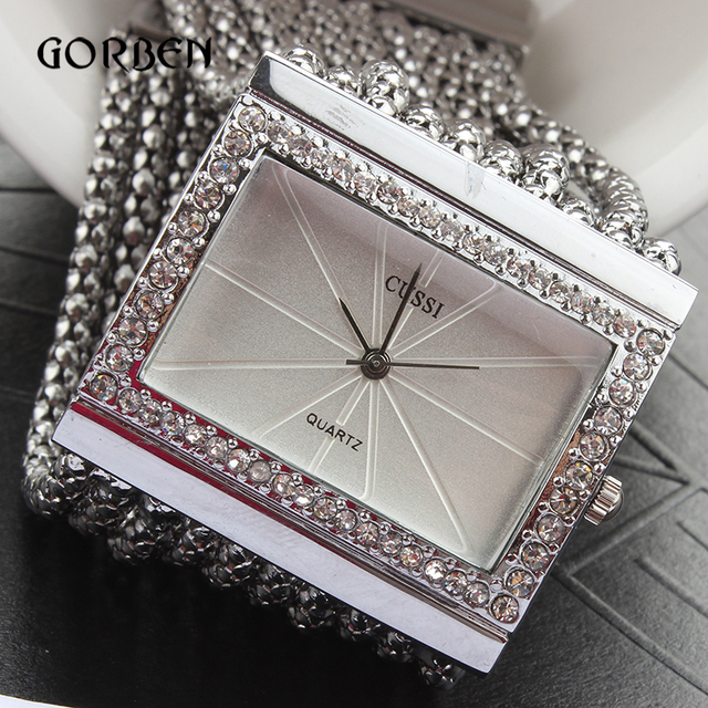 Vintage Silver Quartz-watch Fashion Stainless Steel Luxury Women Watches Rhinestone Ladies Bracelet Watches Relogio Feminino