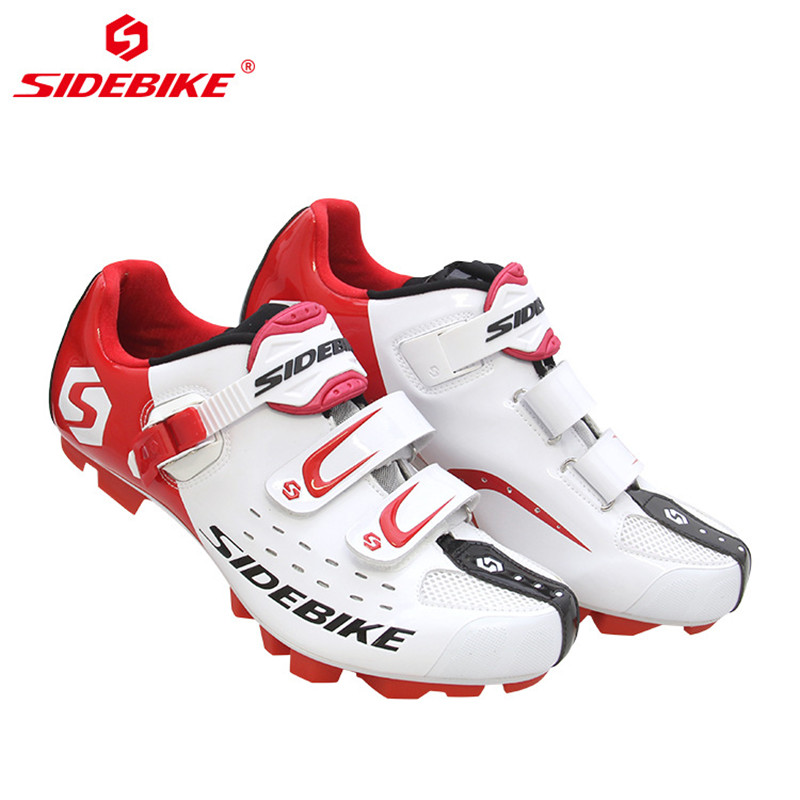 Купить с кэшбэком SIDEBIKE Pro Men's Mountain Bike Shoes MTB Cycling Shoes Self-Locking Riding Bicycle Shoes with Mesh Holes and hook & loop