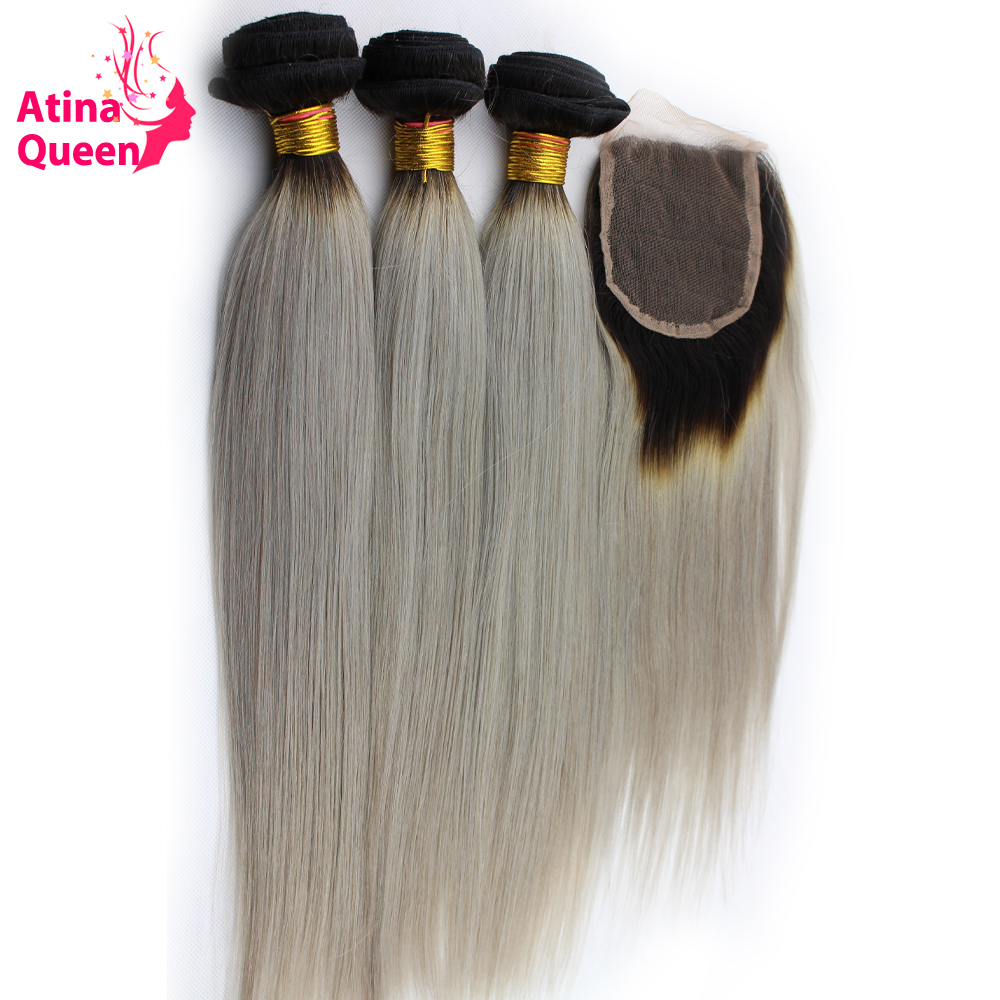 Atina Queen 1B/GREY Brazilian Straight Human Hair Weave Bundles with Closure Ombre Two Tone 4*4 Lace Closure Remy Hair 4pcs lot-in 3/4 Bundles with Closure from Hair Extensions & Wigs    1