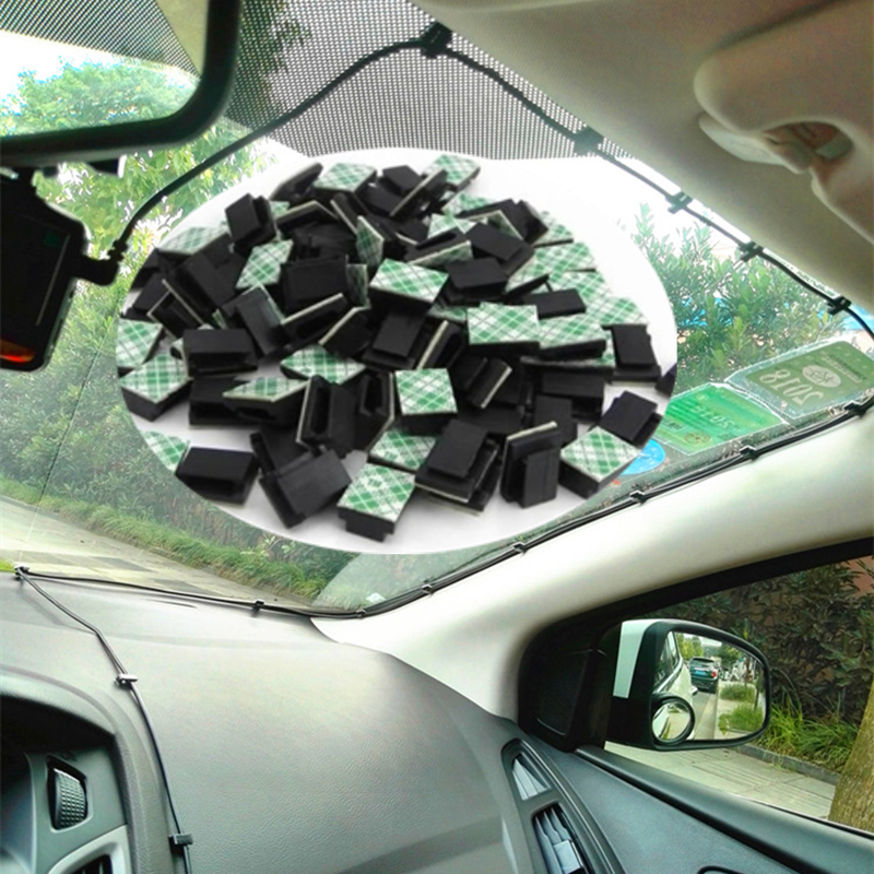 50pcs Black <font><b>Adhesive</b></font> <font><b>Car</b></font> <font><b>Cable</b></font> <font><b>Clips</b></font> <font><b>Cable</b></font> Winder Drop Wire Tie Fixer Holder Cord Organizer Management Desk <font><b>Cable</b></font> Tie Clamps image
