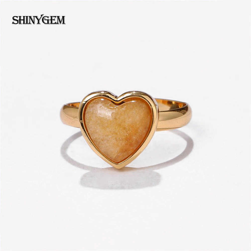 ShinyGem ใหม่แฟชั่นสีเหลือง Jades แหวนสแควร์/Heart หินธรรมชาติแหวนปรับธรรมชาติ Jades งานแต่งงานแหวน