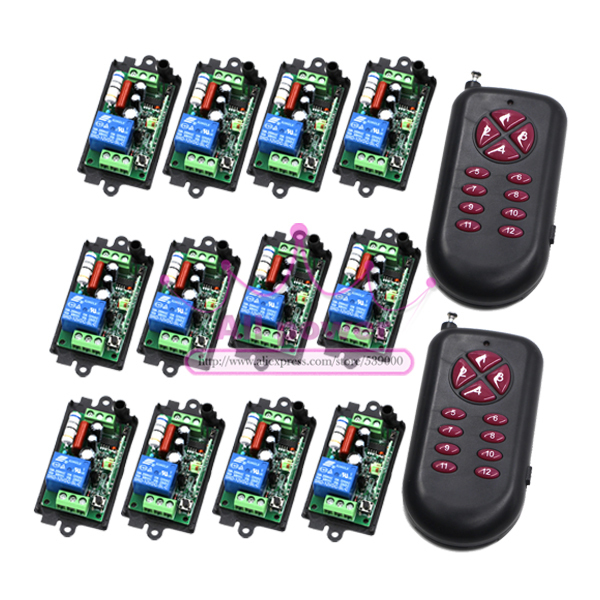 New product AC220V 1CH RF Wireless Remote Control Switch system 2Transmite&12Receiver 220V relays remote control supply M4 T4 L4 ac 85v 250v 1ch rf wireless remote control switch system 1 transmitters