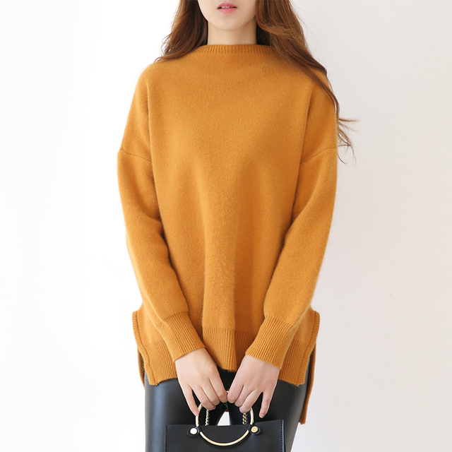 Women's Half Turtleneck Thick Cashmere Sweater Women Pullover ...