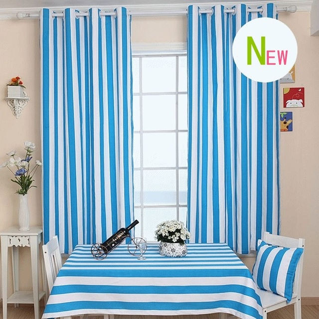 Blauw witte streep gordijn voor de woonkamer moderne stijl cavas ...