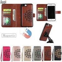 Voor iPhone 5 5 S SE 6 6 S Plus 7 Plus Case 2 in 1 Unieke Afneembare Leather Case Cover 3D Patroon Bloem Portemonnee Filp Magneet Fundas