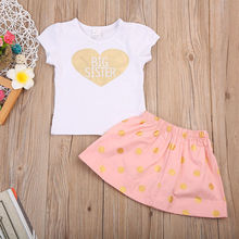 Baby Kids Girl Clothes Set Big Little Sister T-shirt Shorts