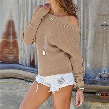Women Pullover Sweater Batwing Sleeve Off Shoulder