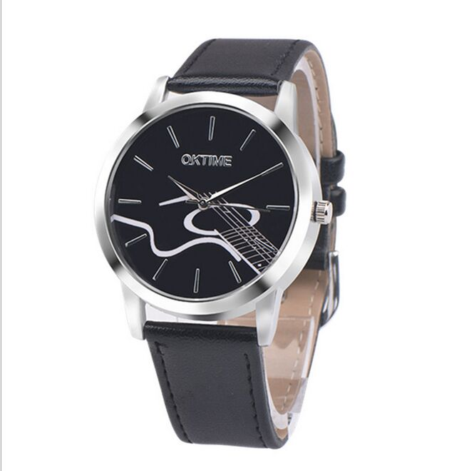 2016 new Women Wristwatch PU Leather Quartz Dress Watch Guitar Musical Notes Casual Watch Men Women