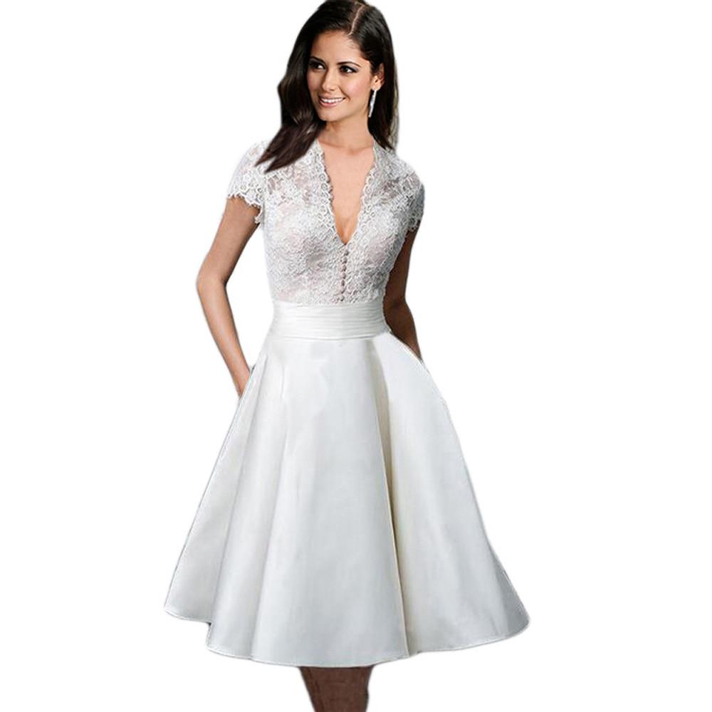 Kenancy Lace White Crochet Pearl Vintage Dress Elegant ... - photo #17