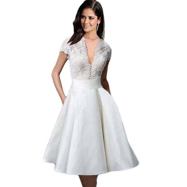 5d473d17fe5 Kenancy Lace White Crochet Pearl Vintage Dress Elegant Style V Neck Short Sleeves  Party Vestidos 1960s