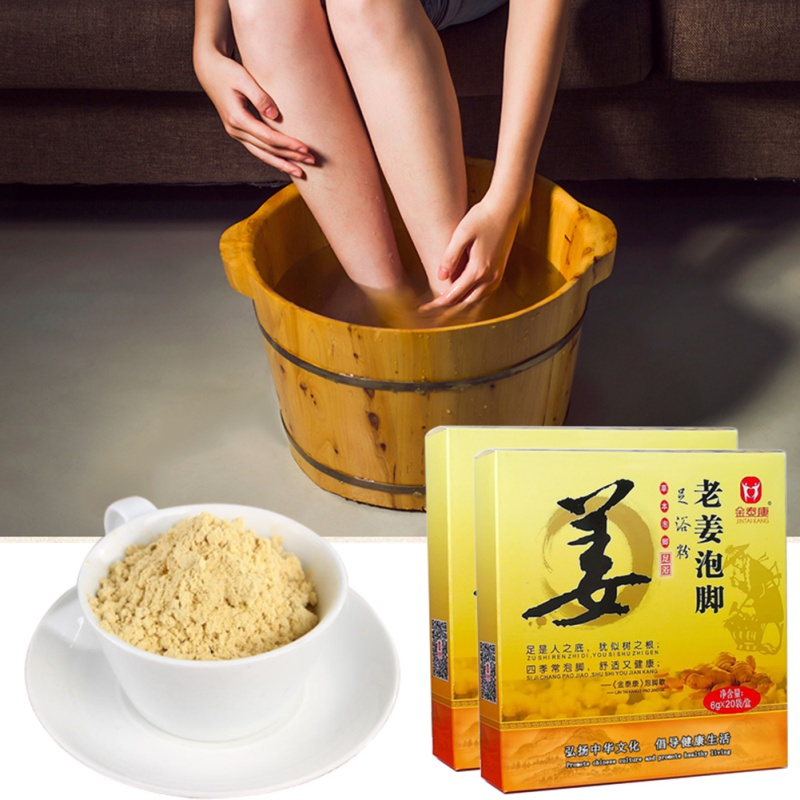 Ginger Foot Bath Powder Chinese Herbal Foot Bath Spa Bubble Foot Clearing Damp 100% Natural Plants Ginger Extract 6*20pcs