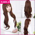 1PC New Long Wavy Wigs With Bang Korean Full Head Cosplay Wig Brown Color for Women Attach Wig Cap as Gift