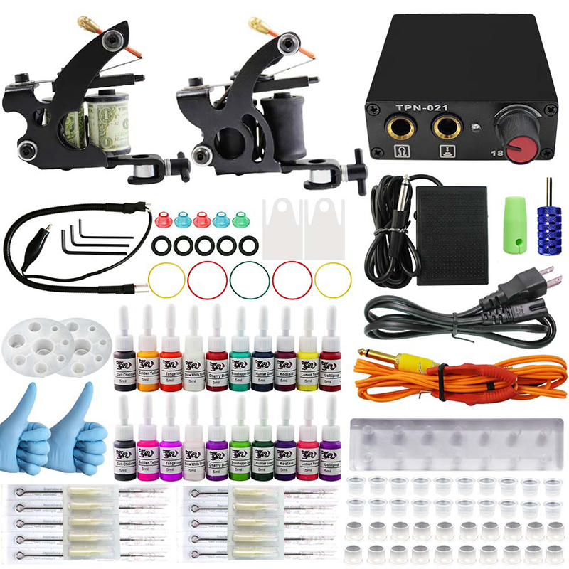Complete profession Tattoo kits 10 wrap coils 2 guns machine 54 tattoo ink set power supply disposable needle Foot pedal complete tattoo kits pro gun machine power pedal 10 color ink sets power supply disposable needle grip tip quality new arrival