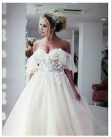 LORIE Princess Wedding Dress Sweetheart Appliqued 3D Flowers Bride Dress Tulle Backless Boho Wedding Dress Ball Gowns