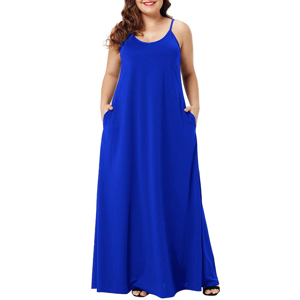HTB1gKDLXL1G3KVjSZFkq6yK4XXa1 Plus Size Dress Women Summer Solid Maxi Dresses Sexy Spaghetti Straps Sleeveless Loose Long Dress With Pockets Casual Vestidos