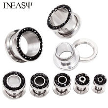 1Pair Ear Plugs Tunnels Stainless Steel Expander Piercing Stretcher Flesh Tunnel Body Jewelry Tragus Dilations
