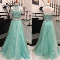 Pretty Mint Green 2 Pieces Prom Gowns 2018 Bling Bling Crystal Beaded Tank Long Tulle Skirt Prom Dress Vestidos De Formatura
