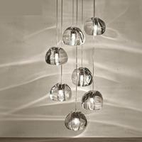 LEDจี้คริสตัลผิดปกติบอลโคมไฟระย้าสำหรับบันไดบันไดแสงG4 Ledโคมระย้าบาร์ร้านอาหารนอร์ดิกโคมไฟ...