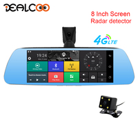 Dealcoo 8' IPS Touch Screen Car DVR 3 in 1 Radar Detector Android Mirror 4G/WIFI Two Cameras 1080P Rearview Camera Registrator