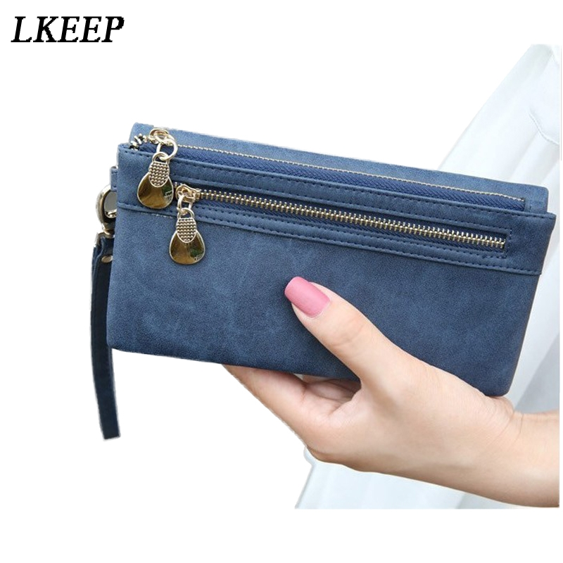42288c715a1d7 Aliexpress.com   Buy Fashion Women Wallets Dull Polish Leather Wallet  Double Zipper Day Wristband Wallet Ladies Clutch Purse Card Holder  Billetera from ...