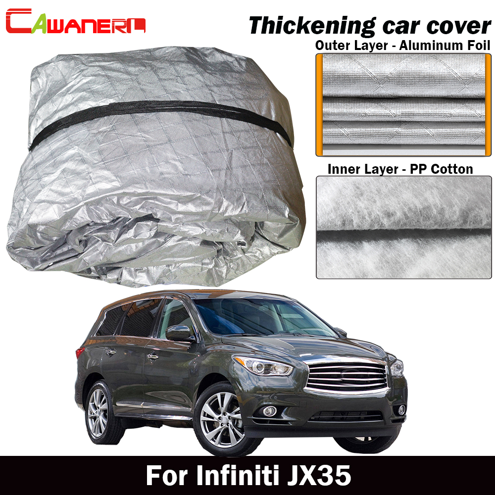 Cawanerl Thick Car Cover Inside Cotton Waterproof Sun Shade Rain Snow Hail Resistant SUV Cover Dust Proof For Infiniti JX35