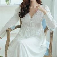 秋ヴィンテージナイトガウンvネックレディースドレス王女白いセクシーなパジャマレースホームドレス快適なロング寝間着# HH13