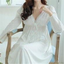 Осень Винтаж Ночные сорочки v-образным вырезом дамы Платья принцессы белые пикантные пижамы Кружева домашнее платье удобные длинные рубашки # HH13