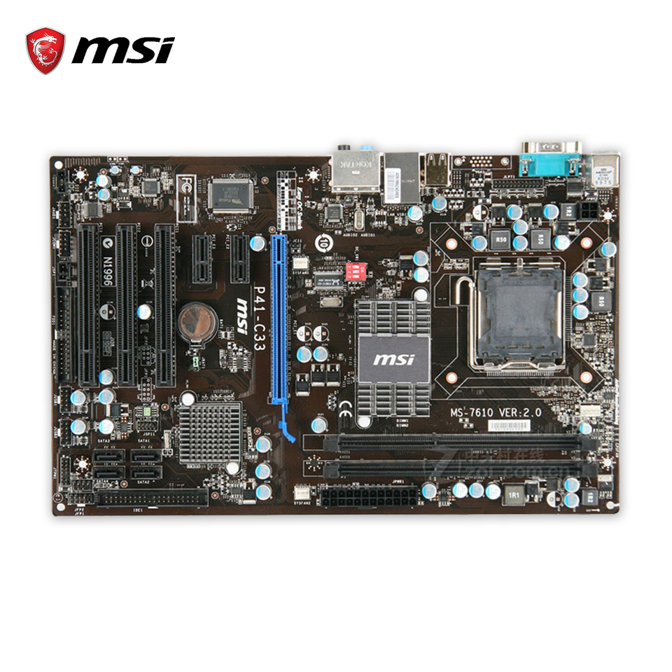 MSI P41-C33 Original Used Desktop Motherboard G41 Socket LGA 775 DDR3 8G SATA2 USB2.0 ATX msi p41 c31 original used desktop motherboard p41 socket lga 775 ddr3 4g sata2 usb2 0 atx