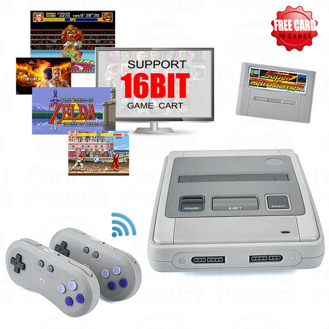 Super Retro Wireless Controller HD NTSC/PAL 720P 2 in 1 Console System (2018) - for NES, SNES Original Game Cartridges