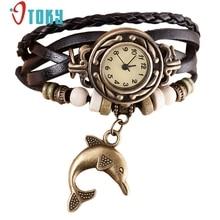 OTOKY женщин часы лучший бренд класса люкс женские часы Плетеный Дельфин Браслет Кожа часы женщины наручные часы Кварцевые Подарок 1 шт.