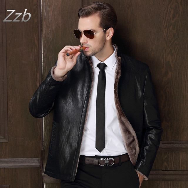 a26e649ee49 2017 New Motorcycle Winter Men High Quality Leather Jacket Solid Color  Fashion Casual Slim Fit Thicken