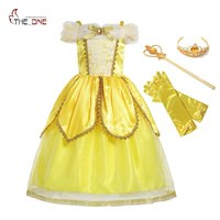 MUABABY Girls Princess Belle Dress Kids Shoulderless Yellow Party Cosplay Costume Children Girl Carnival Dress Up
