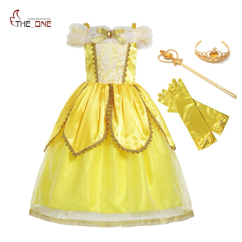 MUABABY Girls Princess Belle Dress Kids Shoulderless Yellow Party Cosplay Costume Children Girl Carnival Dress up Ball Gown anime balala the fairies duan xiaomin cosplay costume cute yellow girl dress d