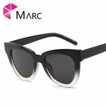MARC Korean version Cat eye sunglasses men and women fashion Plastic Leopard personality trend glasses classic Resin