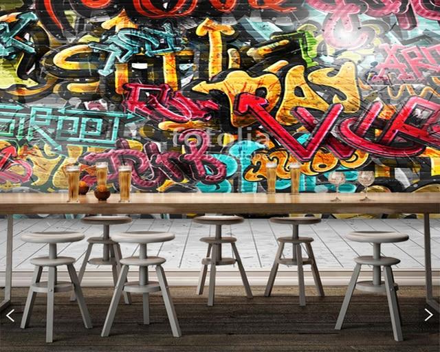 Aangepaste kinderen behang, Graffiti op muur, fresco woonkamer ...