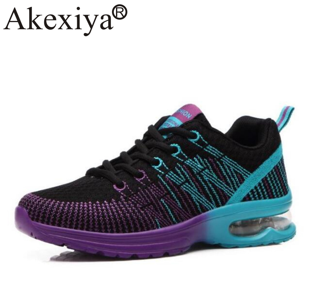 Akexiya Women's Sneakers Breathable Air Cushioning Women Running Shoes Breathable Fly Weave Sports Shoes Jogging Walking Female summer breathable air cushion fly line sports women running shoes shock absorption increase tourism shoes spring female sneakers