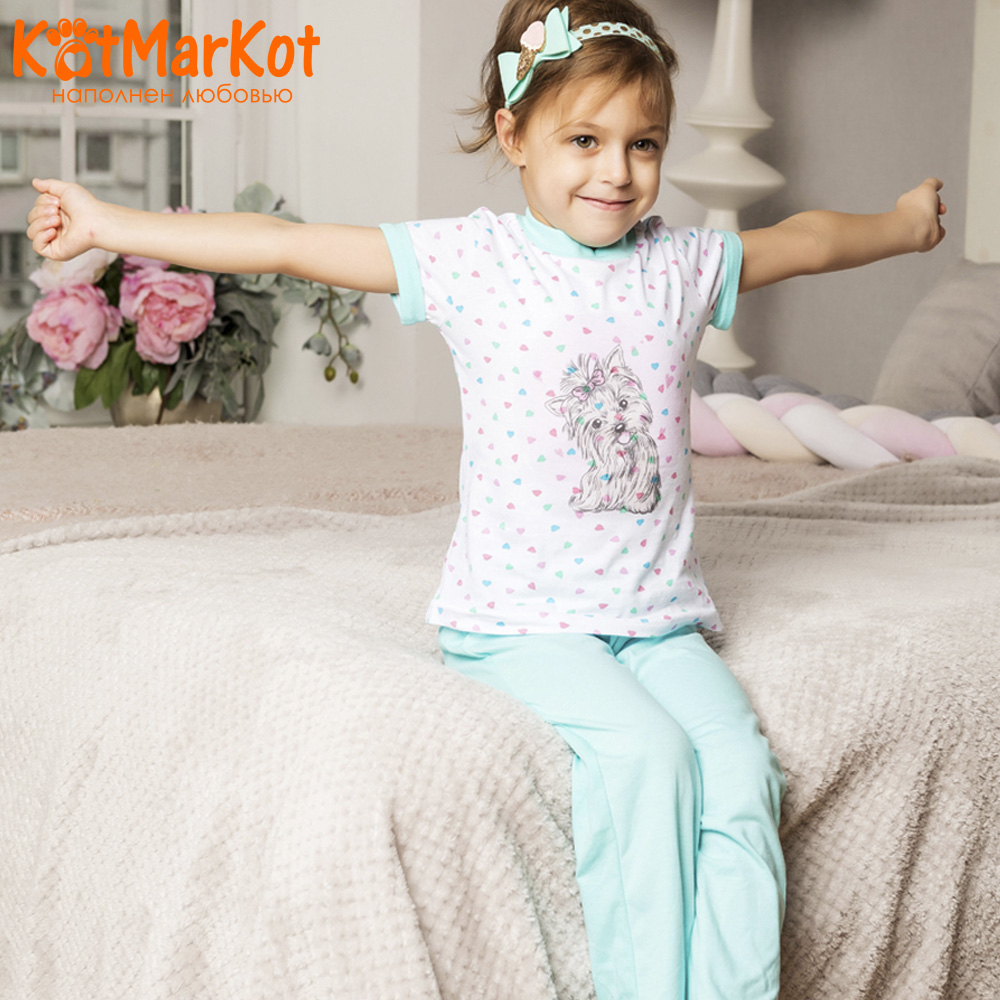 Pajama Sets Kotmarkot 16496 children's pajamas for boys and girls sleep t-shirt and shorts pajama pants Cotton Girls shein kiddie toddler girls letter print jumpsuit and floral print pants and headband long sleeve casual suit for girl sets