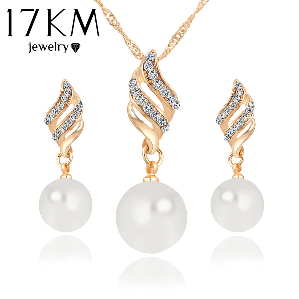 17KM Moda Donna Collana Orecchini Set di gioielli in cristallo color oro Big Simulated Pearl Wedding Party Set di gioielli per le donne