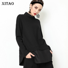 XITAO טלאי רוכסן שחור T חולצה לנשים בתוספת גודל ארוך שרוול צווארון עומד גאות רחוב סגנון חולצות קוריאני בגדי GWY2355