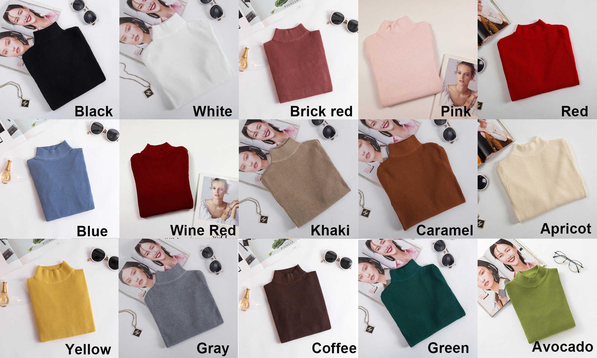 Duckwaver swetry z golfem swetry z dzianiny S-XL Plus rozmiar 15 kolor elastyczność Casual Warm Women sweter kobieta golf