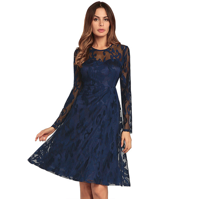 Women See Through Lace Dress Chic Spring Summer Party Long Sleeve Dresses  Floral Layered Mesh Frock b53f0fe34a82