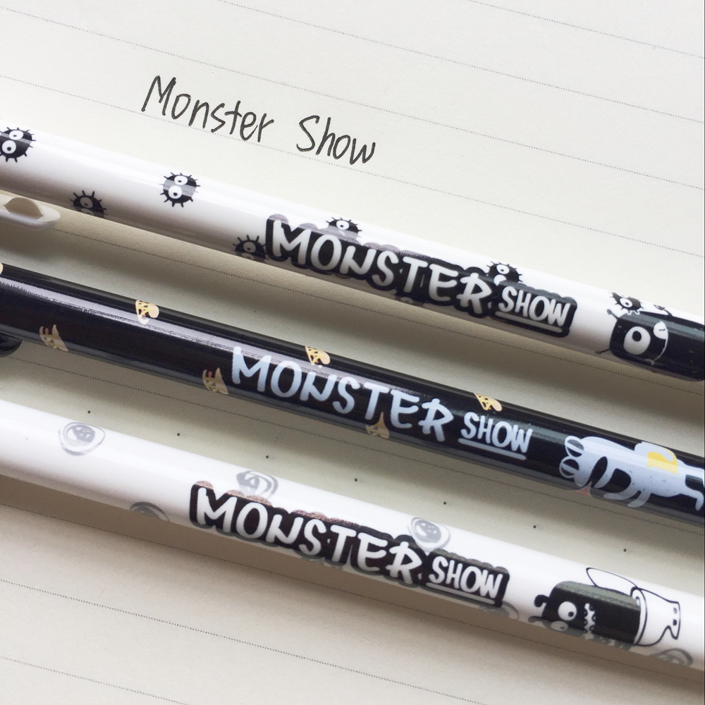 N37 3X White Black Monster Show Gel Ink Pen Writing Signing Pen School Office Supply Student Stationery 0.38mm Black Ink