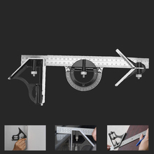 1 Set Angle Ruler Stainless Steel Round Head Rotary Protractor 300mm Adjustable Angle Finder Measure Tools